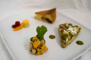 Frittata, Chocolate and Pear Cake, Butternut and Chickpea Salad, Fruit