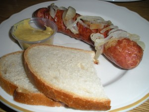 Kielbasa with onion and the most delicious mustard EVER.